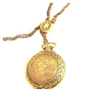 Solid perfume courting scene vtg locket necklace